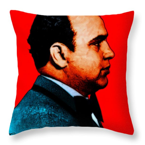Gangman Style - Al Capone c28169 - Red - Painterly Throw Pillow by Wingsdomain Art and Photography