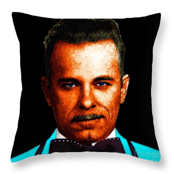 Gangman Style - John Dillinger 13225 - Black - Color Sketch Style Throw Pillow by Wingsdomain Art and Photography