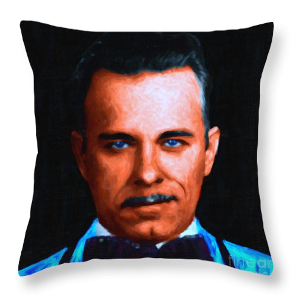 Gangman Style - John Dillinger 13225 - Black - Painterly Throw Pillow by Wingsdomain Art and Photography