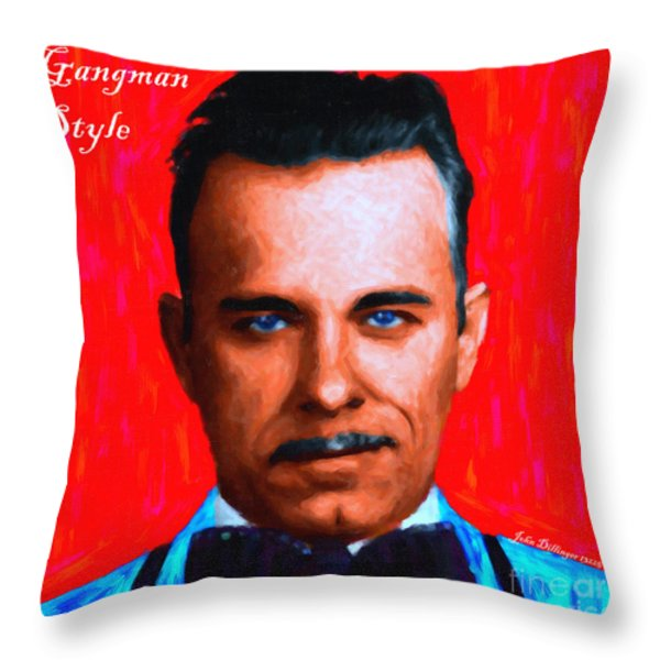Gangman Style - John Dillinger 13225 - Red - Painterly - With Text Throw Pillow by Wingsdomain Art and Photography