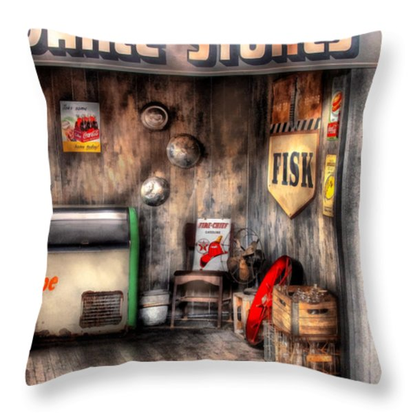 Garage - Advance Stores  Throw Pillow by Mike Savad