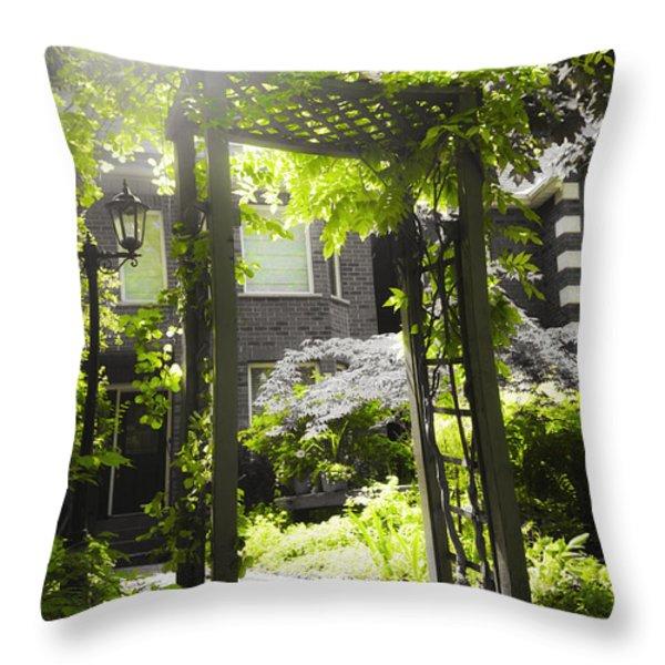 Garden arbor in sunlight Throw Pillow by Elena Elisseeva