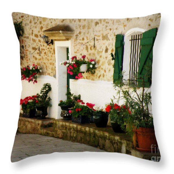 Garden Ledge Throw Pillow by Lainie Wrightson