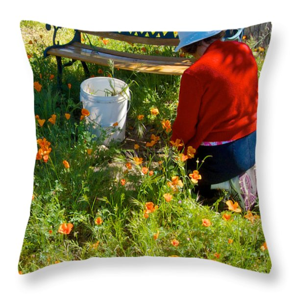 Garden Party In Park Sierra-ca Throw Pillow by Ruth Hager