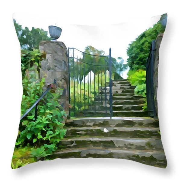 Garden Steps Throw Pillow by Charlie and Norma Brock