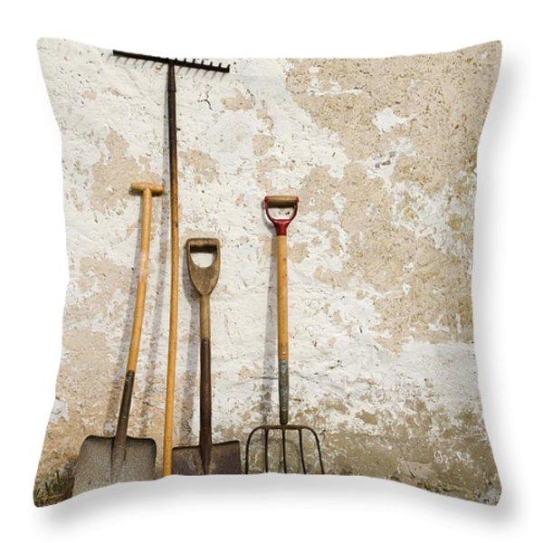 Garden Tools Throw Pillow by Kennerth and Birgitta Kullman