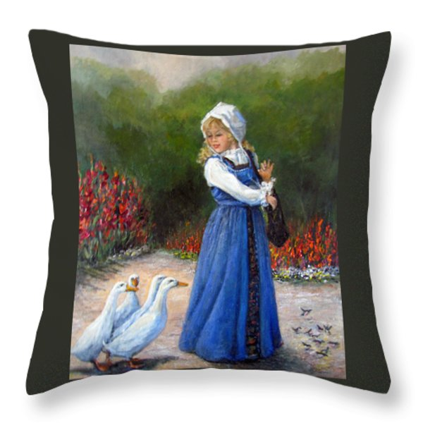 Garden Visitors Throw Pillow by Donna Tucker