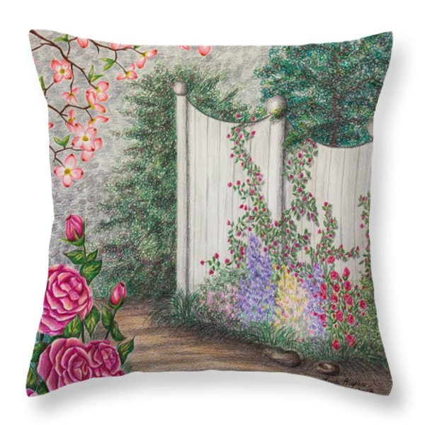 Garden Walkway Throw Pillow by Lena Auxier