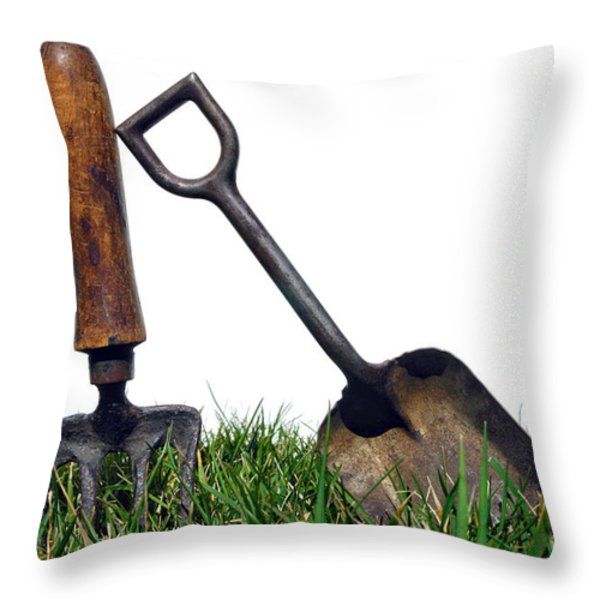 Gardening Tools Throw Pillow by Olivier Le Queinec