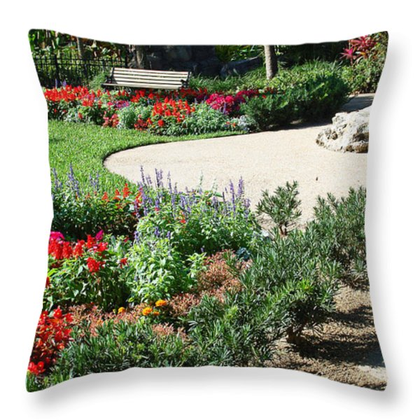Gardenscape Throw Pillow by Aimee L Maher Photography and Art