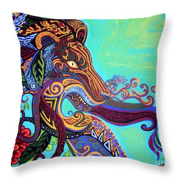 Gargoyle Lion 3 Throw Pillow by Genevieve Esson
