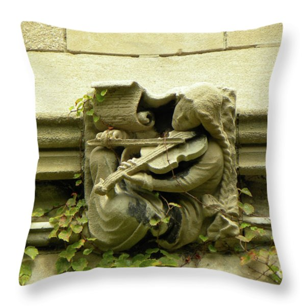 Gargoyle Musician University Of Chicago 2009 Throw Pillow by Joseph Duba