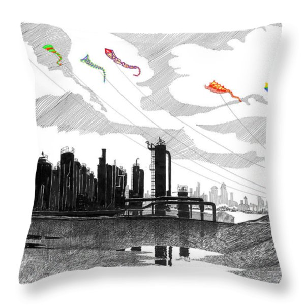 Gas Works Park Seattle Kite Flying  Throw Pillow by Jack Pumphrey