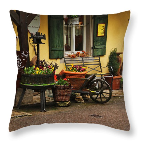 Gast Haus Display in Rothenburg Germany Throw Pillow by Greg Matchick
