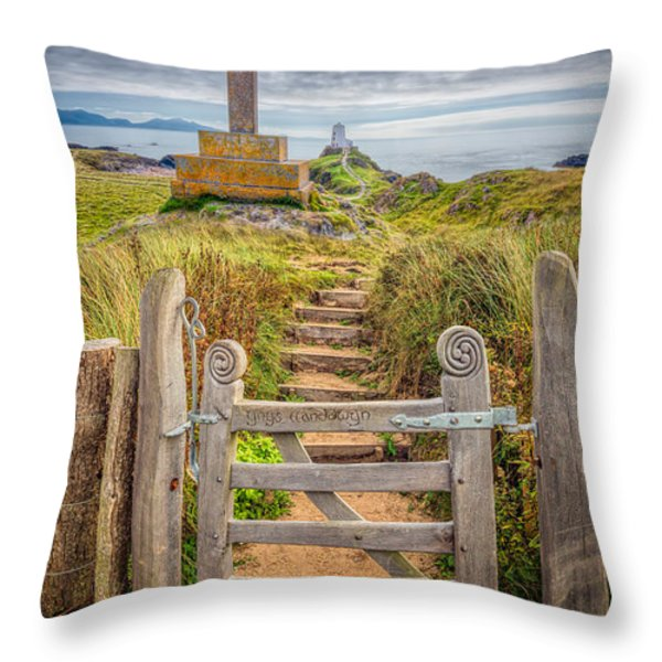 Gate to Holy Island  Throw Pillow by Adrian Evans