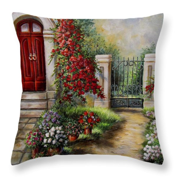 Gate to the hidden Garden  Throw Pillow by Gina Femrite