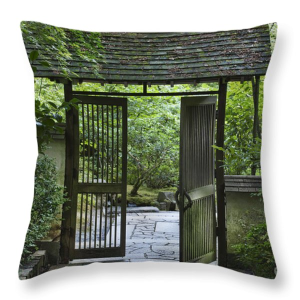 Gates of Tranquility Throw Pillow by Sandra Bronstein