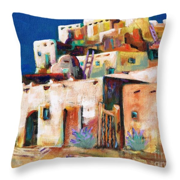 Gateway Into  The  Pueblo Throw Pillow by Frances Marino