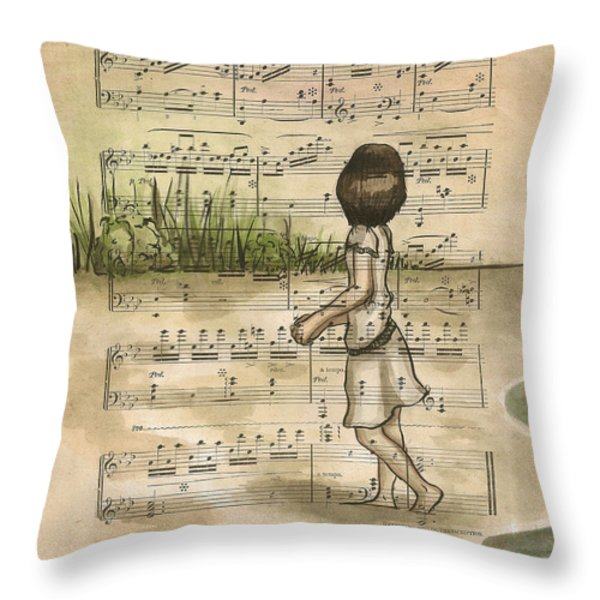 Gathering Shells From The Sea Shore 2 Throw Pillow by Lucy Stephens