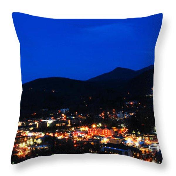 Gatlinburg Skyline at Night Throw Pillow by Nancy Mueller
