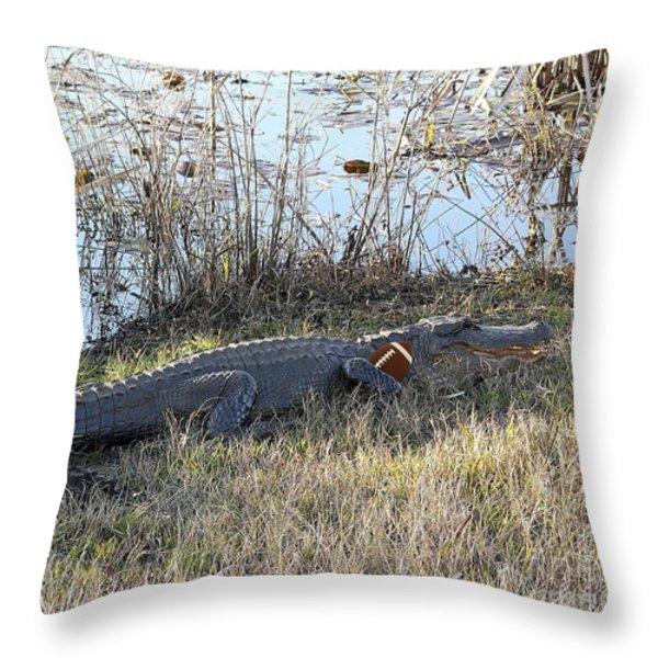 Gator Football Throw Pillow by Al Powell Photography USA