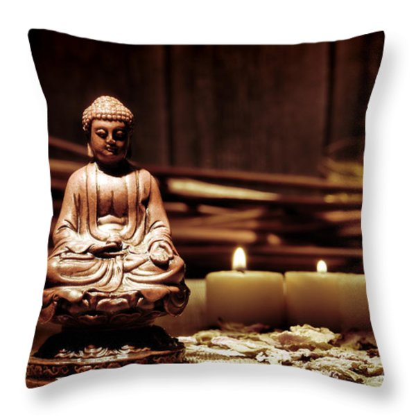 Gautama Buddha Throw Pillow by Olivier Le Queinec
