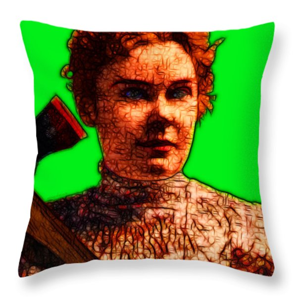 Gave Her Father Forty Whacks - Green Throw Pillow by Wingsdomain Art and Photography