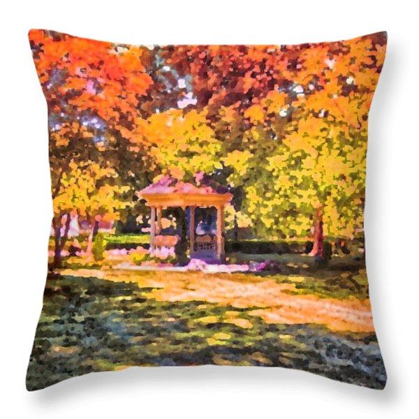 Gazebo On A Autumn Day Throw Pillow by Thomas Woolworth