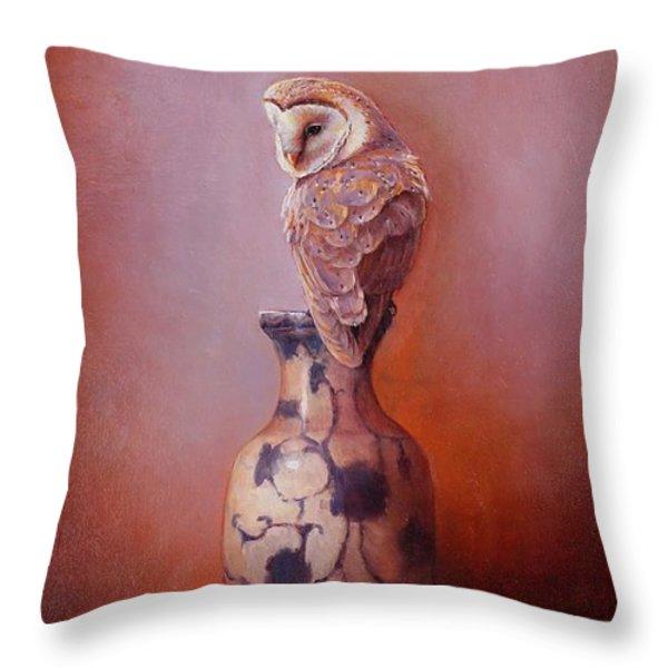 Gazing - Barn Owl Throw Pillow by Lori  McNee