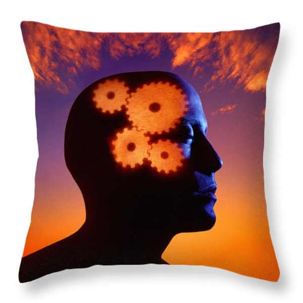 Gears Going In The Mind Throw Pillow by Don Hammond