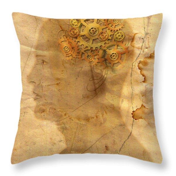 Gears In The Head Throw Pillow by Michal Boubin