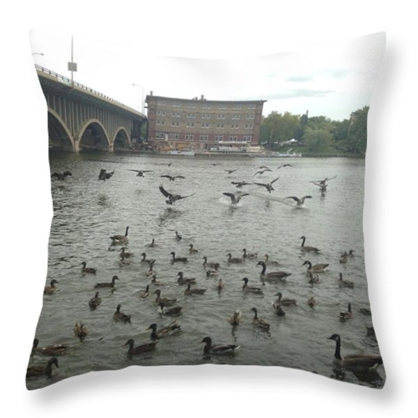 Geese Swooping Down Throw Pillow by Natalee Parochka