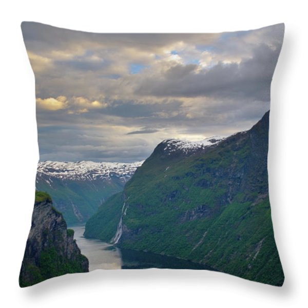 Geirangerfjord Sunset Throw Pillow by Benjamin Reed