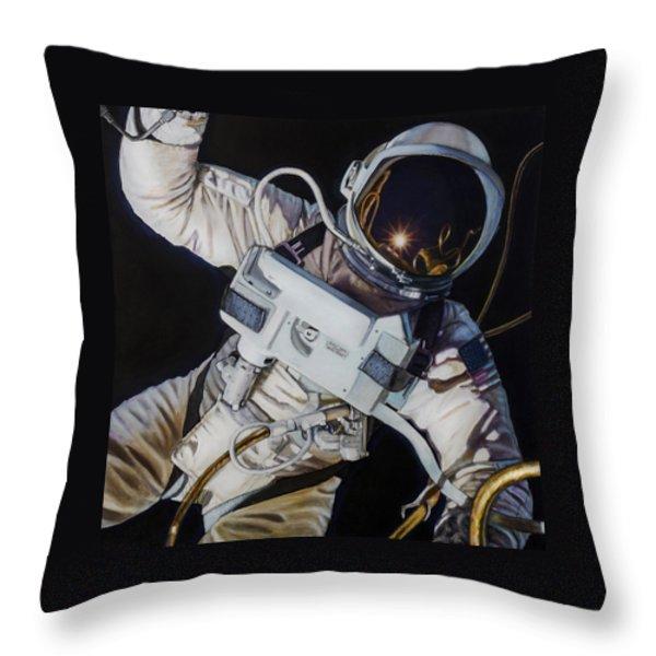 Gemini Iv- Ed White Throw Pillow by Simon Kregar