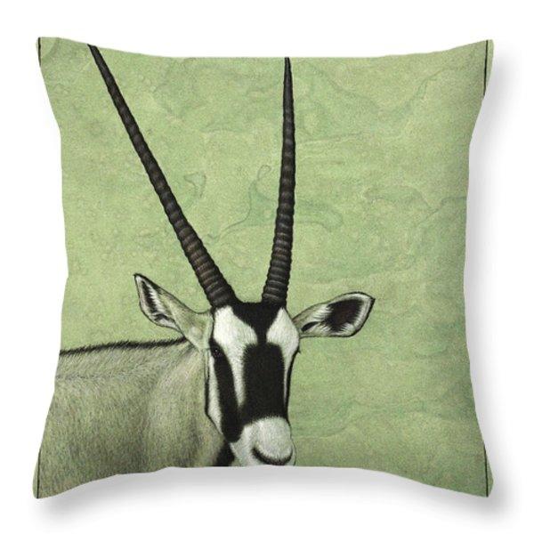 Gemsbok Throw Pillow by James W Johnson