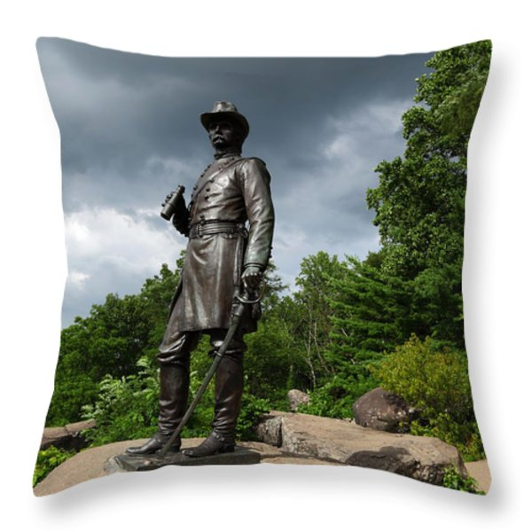 General K Warren Monument Gettysburg Throw Pillow by James Brunker