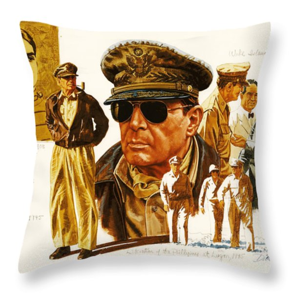 General Macarthur Throw Pillow by Dick Bobnick