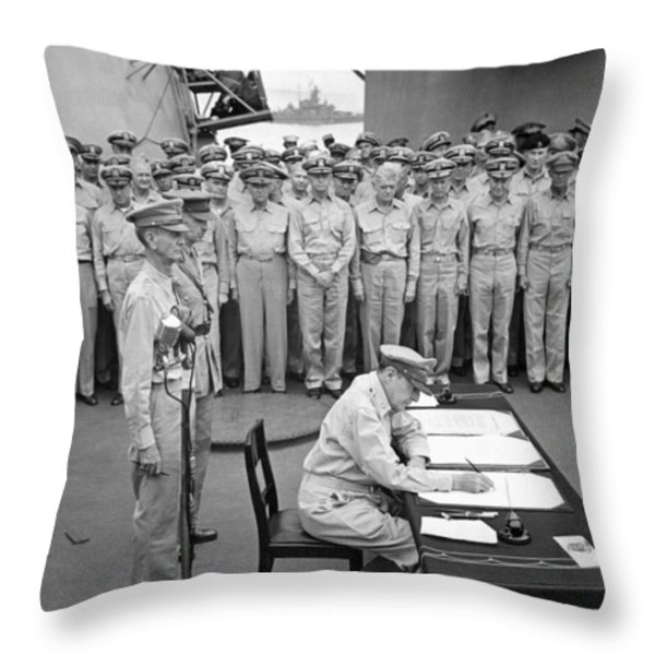 General Macarthur Signing The Japanese Surrender Throw Pillow by War Is Hell Store