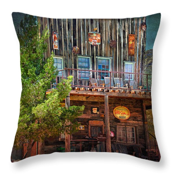 General Store Throw Pillow by Gunter Nezhoda