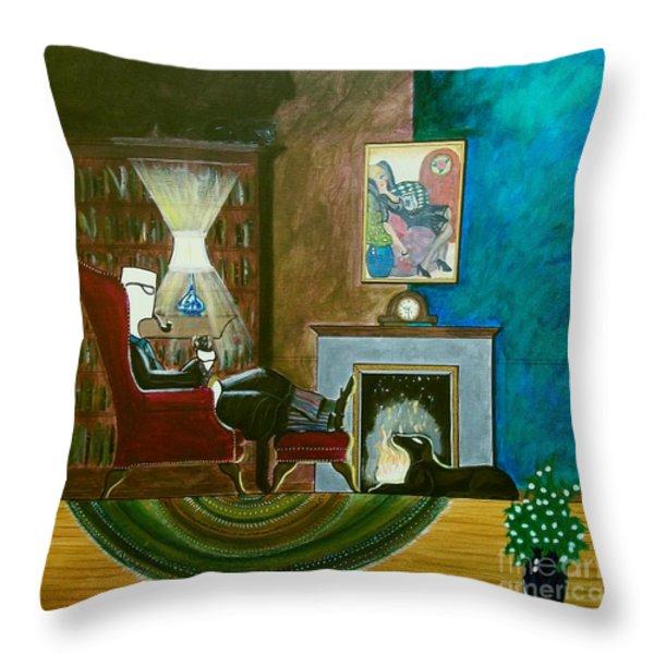 Gentleman Sitting In Wingback Chair Enjoying A Brandy Throw Pillow by John Lyes