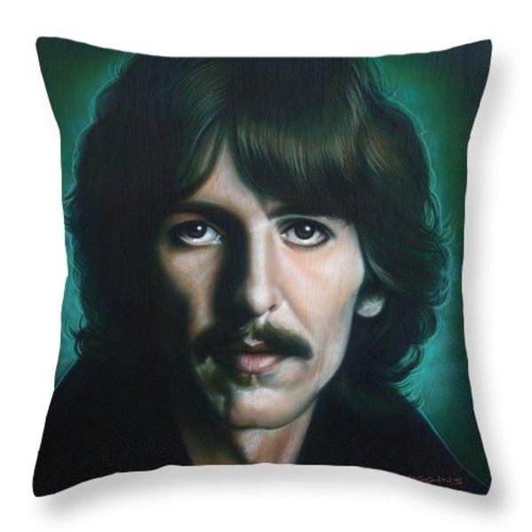 George Harrison Throw Pillow by Tim  Scoggins