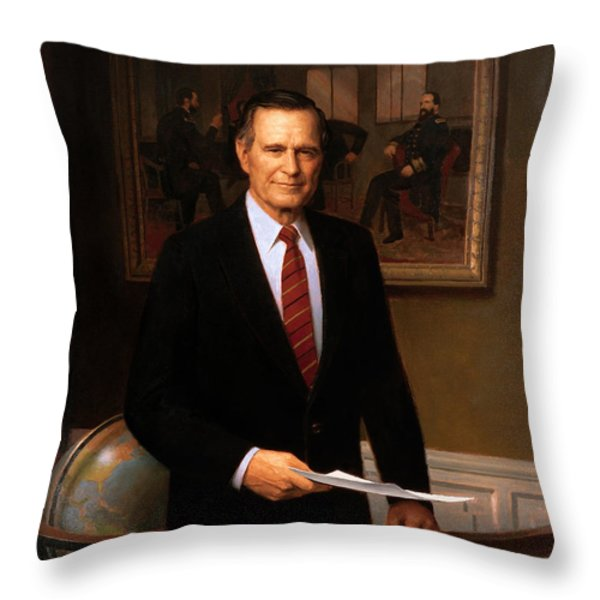 George Hw Bush Presidential Portrait Throw Pillow by War Is Hell Store