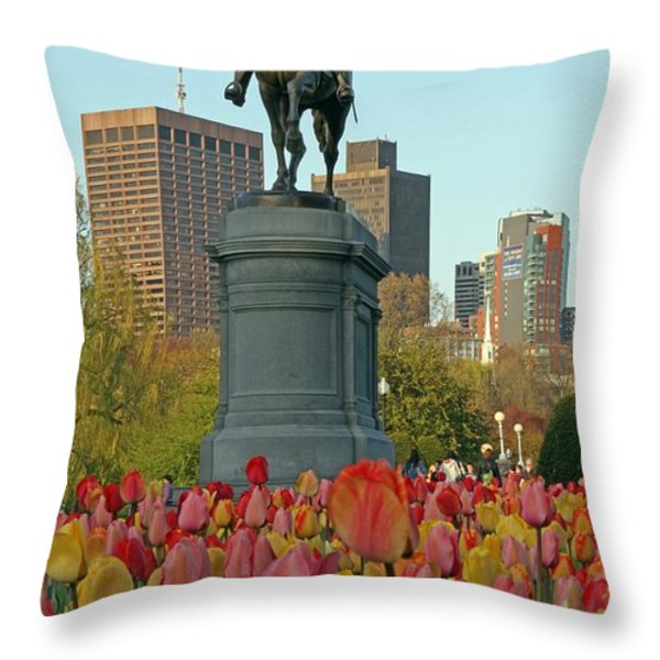 George Washington at the Boston Public Garden Throw Pillow by Juergen Roth