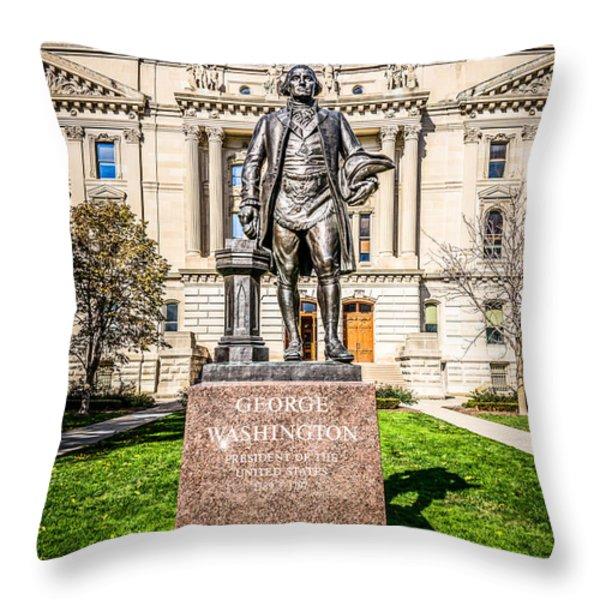 George Washington Statue Indianapolis Indiana Statehouse Throw Pillow by Paul Velgos
