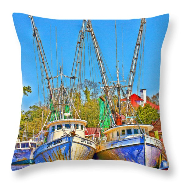 Georgetown Shrimpers Throw Pillow by Bill Barber