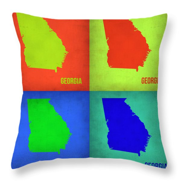 Georgia Pop Art Map 1 Throw Pillow by Naxart Studio