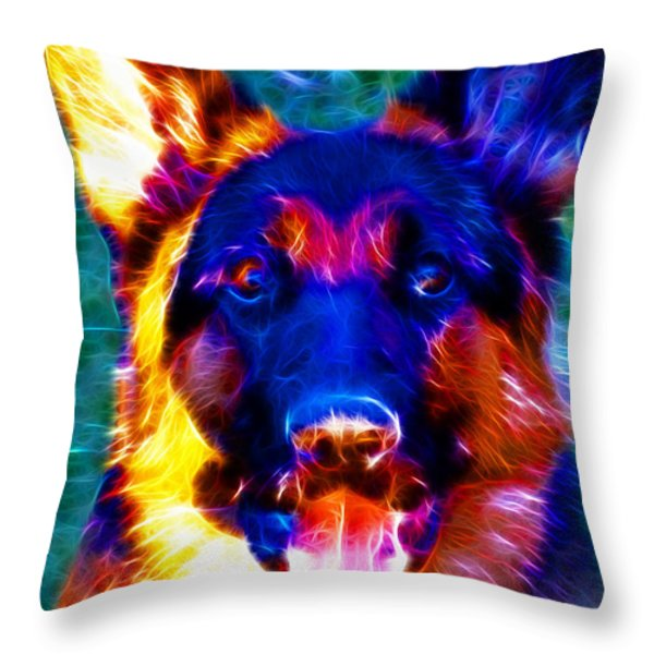 German Shepard - Electric Throw Pillow by Wingsdomain Art and Photography