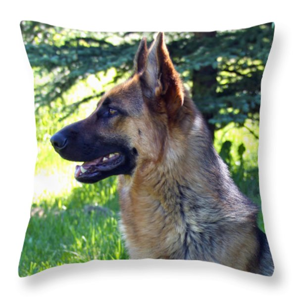 German Shepherd Dog Female Throw Pillow by Karon Melillo DeVega