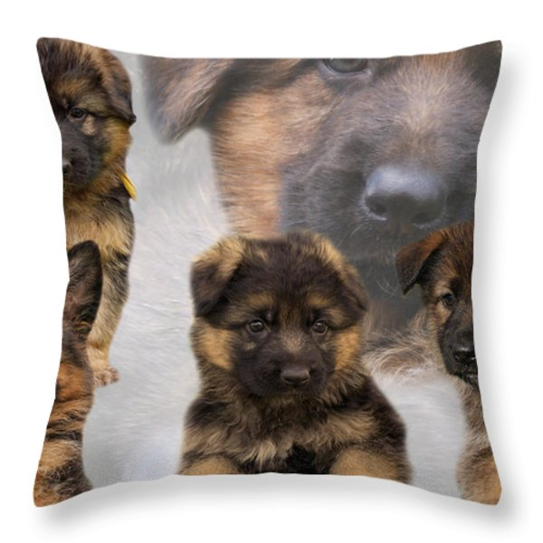 German Shepherd Puppy Collage Throw Pillow by Sandy Keeton