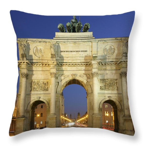 Germany Bavaria Munich Siegestor Throw Pillow by Tips Images